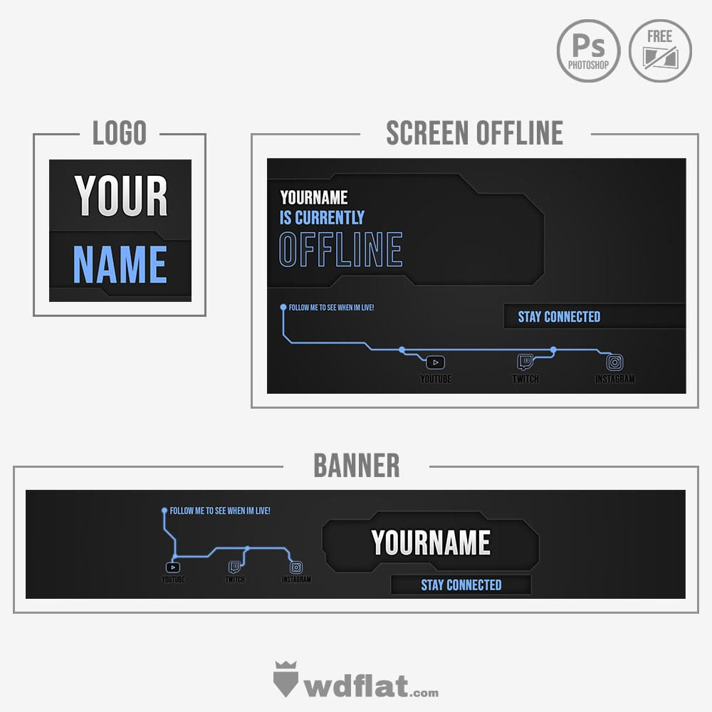 Blue Circuit - twitch offline template