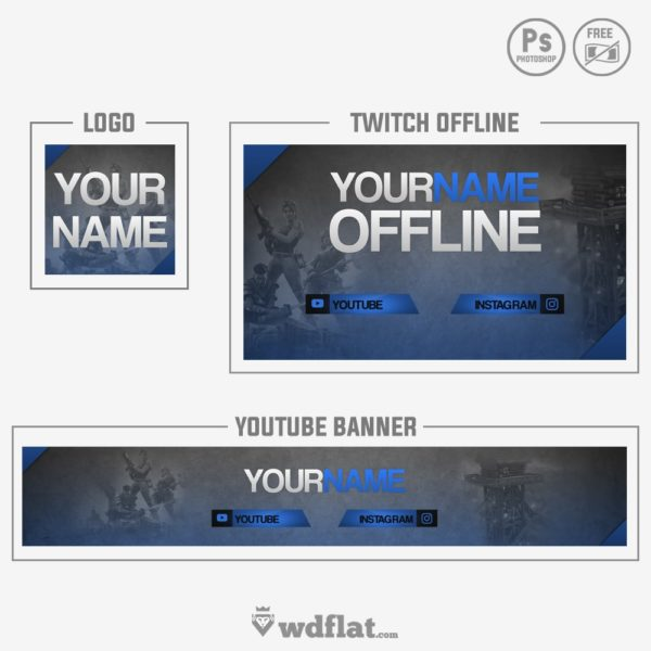 Fortnite Blue – logo and banner free