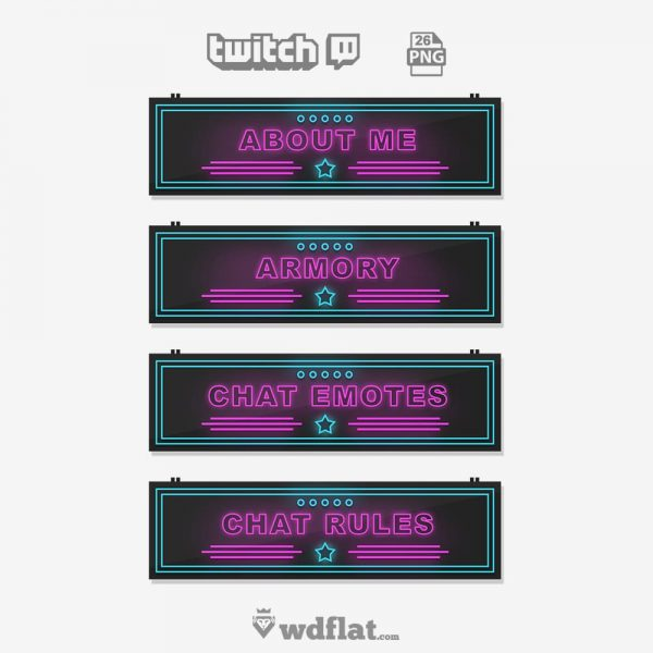 Neon Power – pack twitch panels