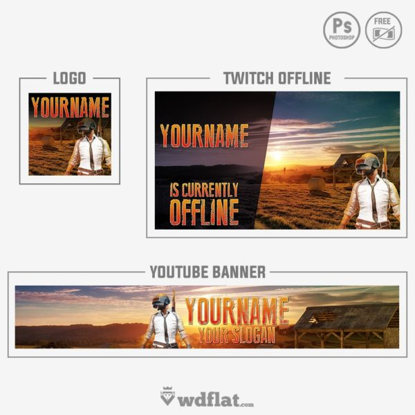 PUBG Rebrand – twitch offline and logo youtube