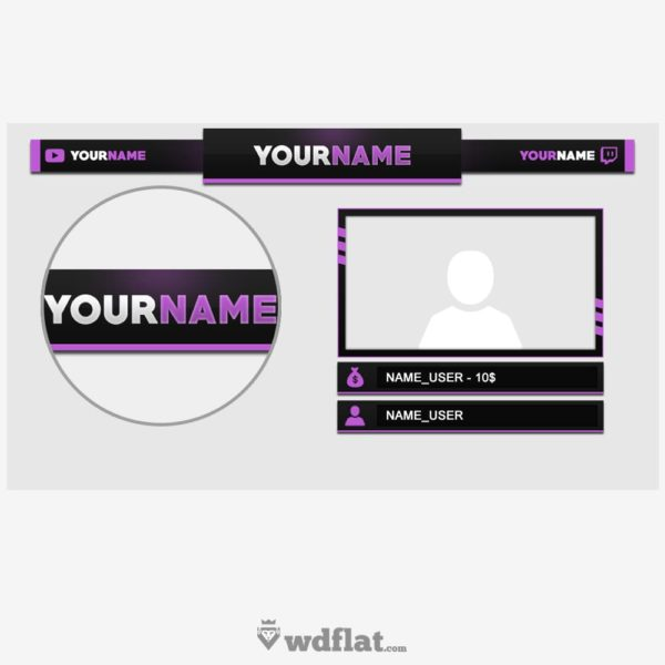 Purple – preview Twitch Overlay PSD FREE