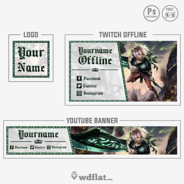 Riven LoL – youtube banner template