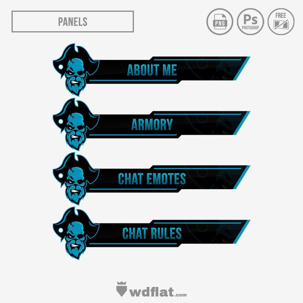 Skull-Pirate Stream Panels