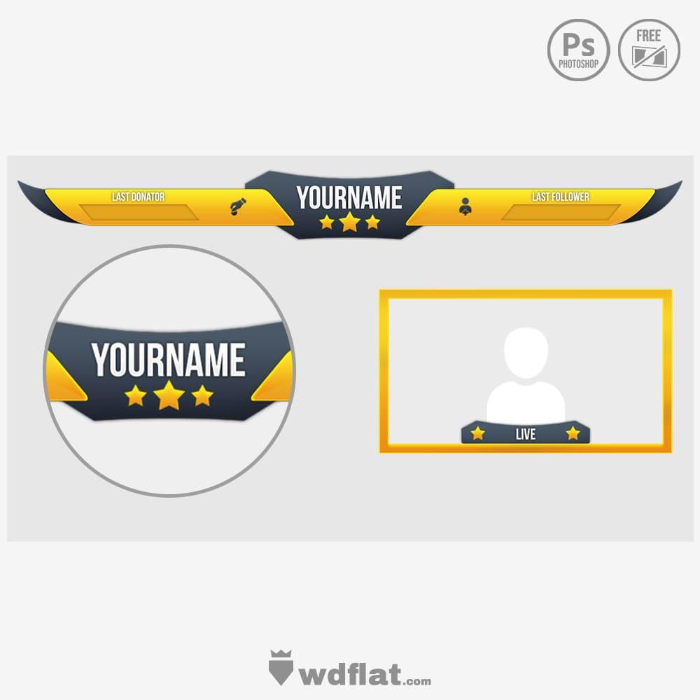 Yellblue-Stars facecam overlay psd