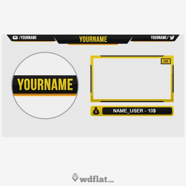 Yellow Contrast – preview Twitch Overlay Facecam